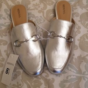 NWT Merona silver mules loafers slides shoes 8 1/2